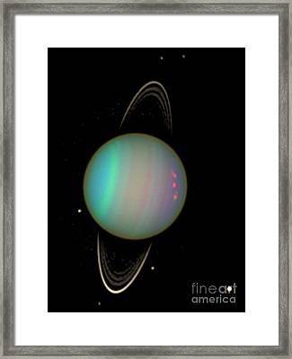 Uranus With Moons Framed Print by Nasa