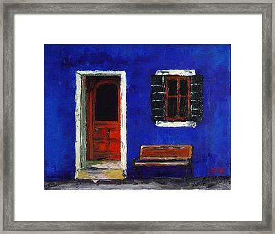 Urban Blues. Palette Knife Oil Painting. No Brush. Framed Print