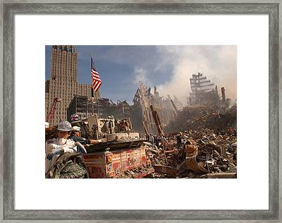 Urban Search And Rescue Teams Inspect Framed Print