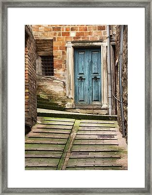 Urbino Door And Stairs Framed Print by Sharon Foster