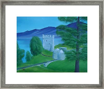 Framed Print featuring the painting Urquhart Castle by Charles and Melisa Morrison