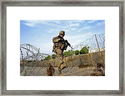 U.s. Air Force Airman Patrols Framed Print