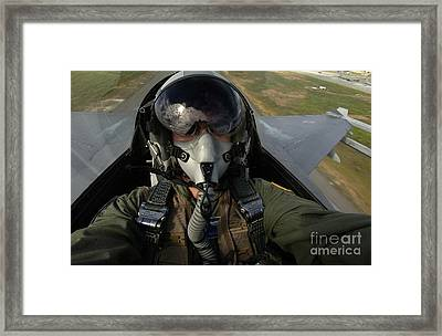 U.s. Air Force Pilot Looking For Nearby Framed Print by Stocktrek Images