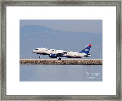 Us Airways Jet Airplane At San Francisco International Airport Sfo . 7d12018 Framed Print by Wingsdomain Art and Photography