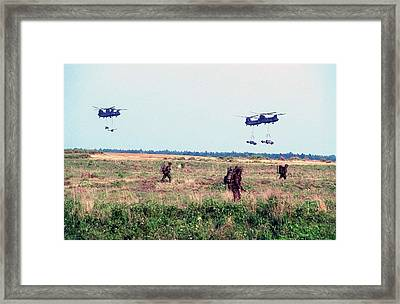 Us Army Chinook Ch-47s Ferry In British Framed Print