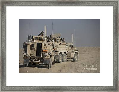 U.s. Army Cougar Mrap Vehicles Framed Print by Terry Moore