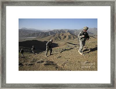 U.s. Army Sergeant Leading His Team Framed Print