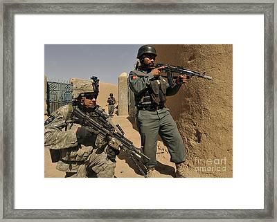 U.s. Army Soldier And An Afghan Framed Print