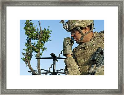 U.s. Army Soldier Calls For Indirect Framed Print by Stocktrek Images