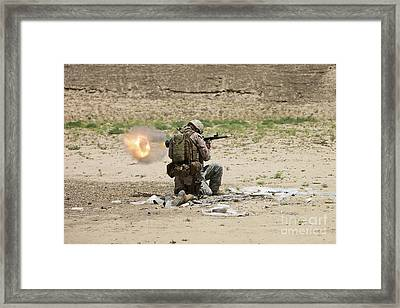 U.s. Army Soldier Fires Framed Print