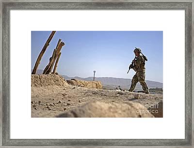 U.s. Army Soldier On A Foot Patrol Framed Print