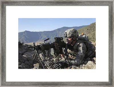 U.s. Army Soldier Provides Overwatch Framed Print by Stocktrek Images