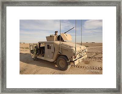 U.s. Army Soldier Pulls Security On Top Framed Print