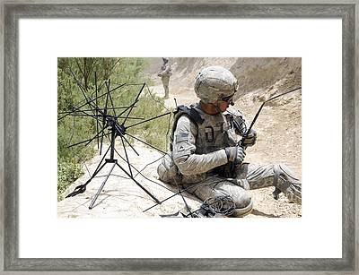 U.s. Army Soldier Sets Up A Tactical Framed Print