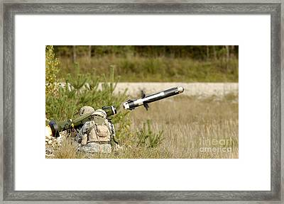 U.s. Army Soldiers Firing An Fgm-148 Framed Print by Stocktrek Images