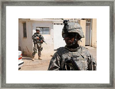 Us Army Soldiers On Patrol In Kirkuk Framed Print