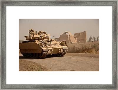 Us Bradley Fighting Vehicle Passes Framed Print by Everett
