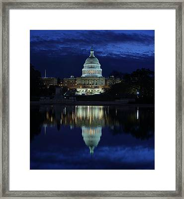 Us Capitol - Pre-dawn Getting Ready Framed Print