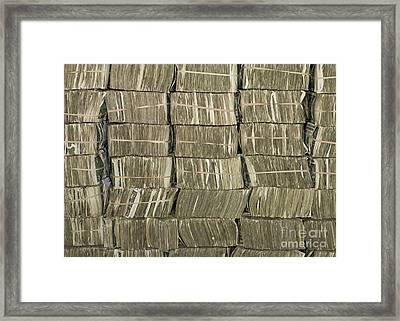Us Cash Bundles Framed Print by Adam Crowley
