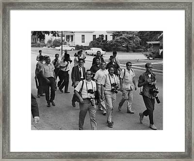 Us Civil Rights. Journalists Following Framed Print by Everett