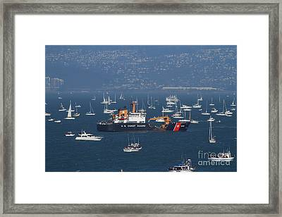 Us Coast Guard Ship Surrounded By Boats In The San Francisco Bay. 7d7895 Framed Print by Wingsdomain Art and Photography