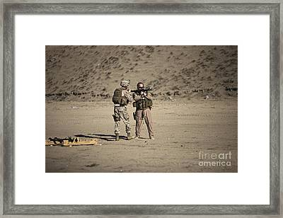 U.s. Contractor Firing An Automatic Framed Print