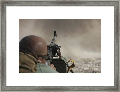 U.s. Contractor Firing The Pkm 7.62 Framed Print by Terry Moore