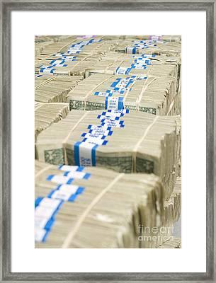 Us Dollar Bills In Bundles Framed Print by Adam Crowley