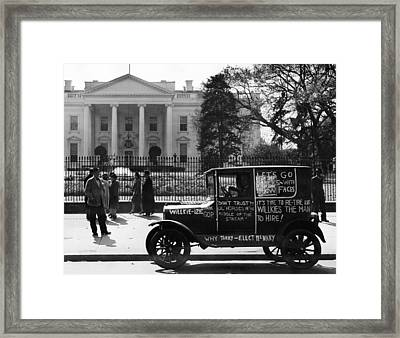 Us Elections. Supporter Of Republican Framed Print by Everett