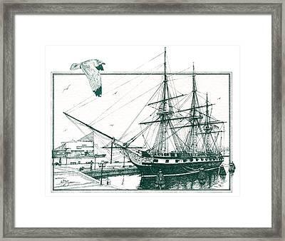 Us Frigate Constellation Framed Print by John D Benson