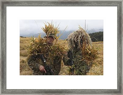 U.s. Marine And Japanese Sniper Await Framed Print by Stocktrek Images