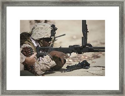 U.s. Marine Clears The Feed Tray Framed Print by Terry Moore