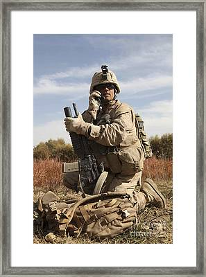 U.s. Marine Communicates Framed Print by Stocktrek Images