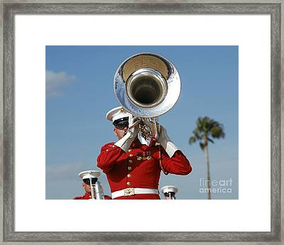 U.s. Marine Corps Drum And Bugle Corps Framed Print by Stocktrek Images
