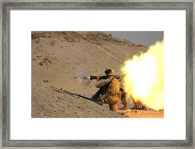 U.s. Marine Fires An M136 At4 Light Framed Print