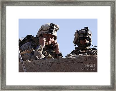 U.s. Marine Gives Directions To Units Framed Print by Stocktrek Images