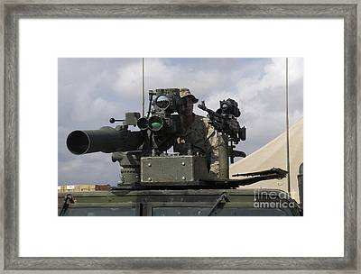 U.s Marine Looks Through A Sight Framed Print