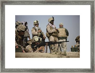 U.s. Marine Prepares To Fire A Pk Framed Print by Terry Moore
