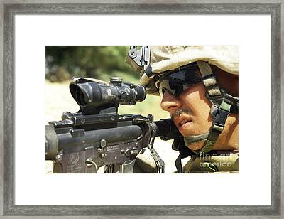 U.s. Marine Providing Security Framed Print by Stocktrek Images
