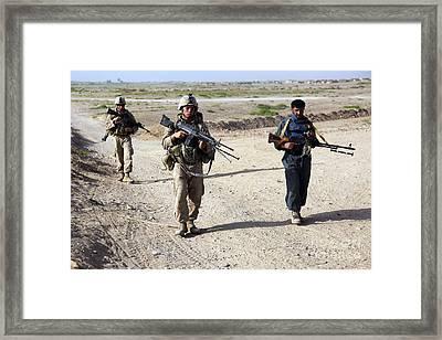 U.s. Marines And Afghan National Police Framed Print by Stocktrek Images