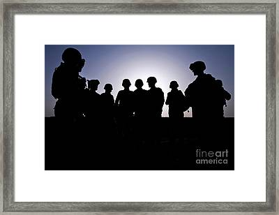 U.s. Marines And Civilian Contractors Framed Print by Stocktrek Images