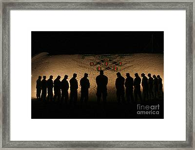 U.s. Marines Bowing Their Heads Framed Print
