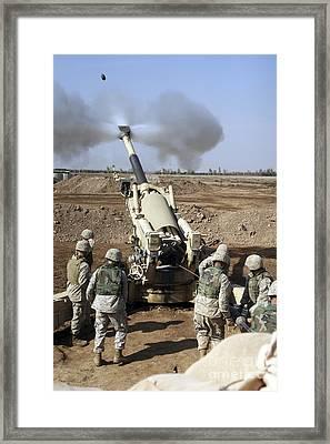 U.s. Marines Engage Enemy Targets Framed Print