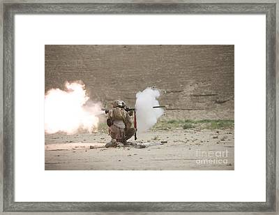 U.s. Marines Fire A Rpg-7 Grenade Framed Print by Terry Moore