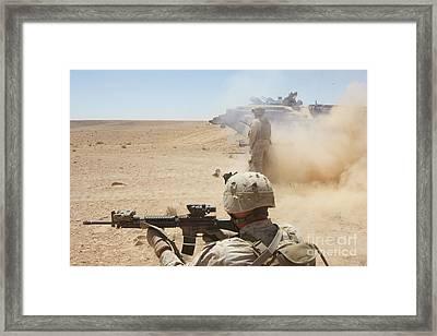 U.s. Marines Fire Several Framed Print by Stocktrek Images
