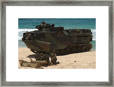 U.s. Marines Guard Their Amphibious Framed Print by Stocktrek Images