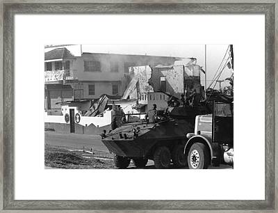 U.s. Marines In Their Light Armored Framed Print by Everett