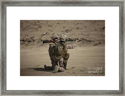 U.s. Marines Load A Fragmentation Round Framed Print by Terry Moore