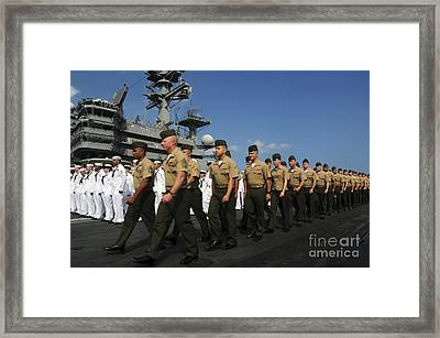 U.s. Marines March In Formation To Move Framed Print by Stocktrek Images