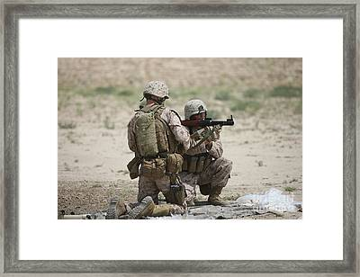 U.s. Marines Prepare A Fragmentation Framed Print by Terry Moore